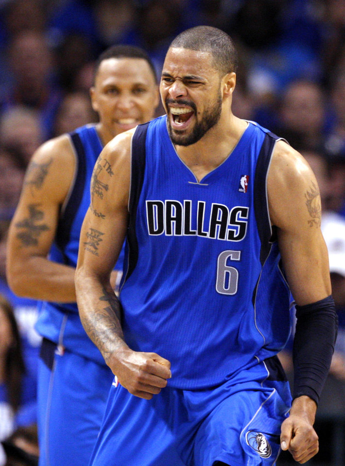 Tyson Chandler (6) of Dallas celebrates during game 3 of the Western Conference Finals of the NBA basketball playoffs between the Dallas Mavericks and the Oklahoma City Thunder at the OKC Arena in downtown Oklahoma City, Saturday, May 21, 2011. Photo by Sarah Phipps, The Oklahoman