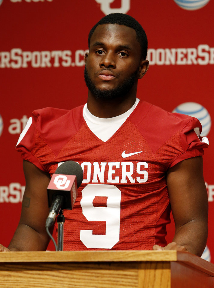 Photo - Defensive back Gabe Lynn speaks during media access day for the University of Oklahoma Sooner (OU) football team in the Adrian Peterson meeting room in Gaylord Family-Oklahoma Memorial Stadium in Norman, Okla., on Saturday, Aug. 3, 2013. Photo by Steve Sisney, The Oklahoman