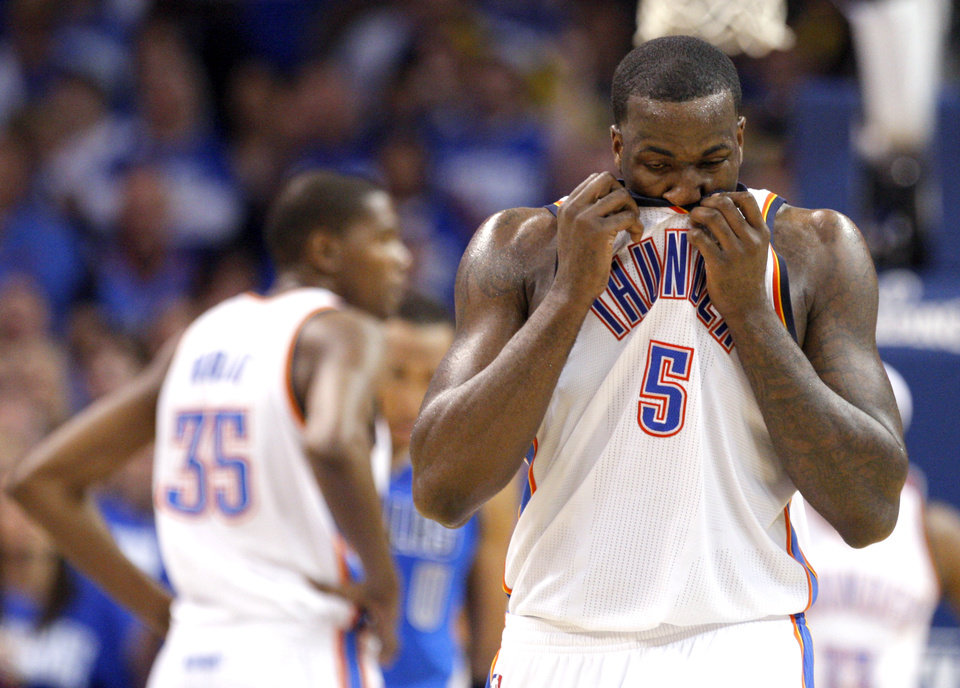 Oklahoma City's Kendrick Perkins (5) reacts to a foul during game 3 of the Western Conference Finals of the NBA basketball playoffs between the Dallas Mavericks and the Oklahoma City Thunder at the OKC Arena in downtown Oklahoma City, Saturday, May 21, 2011. Photo by Sarah Phipps, The Oklahoman