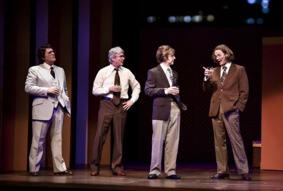Photo -  From left, Jonathan Beck Reed co-stars as Bob Zelnick, David H. Dobson as John Birt, Matthew   Alvin Brown as David Frost and Gregory DeCandia as Jim Reston in Lyric Theatre's production of