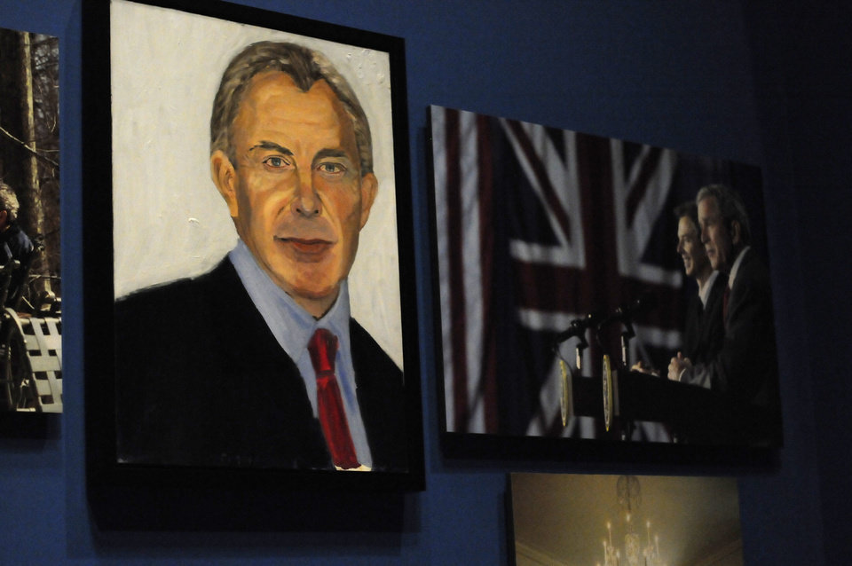 Photo - A portrait of former British Prime Minister Tony Blair which are part of the exhibit