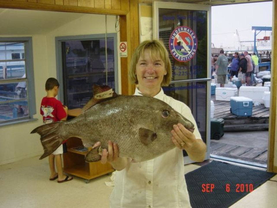 Photo -  Mary Rose holds the new Texas state record Ocean triggerfish
