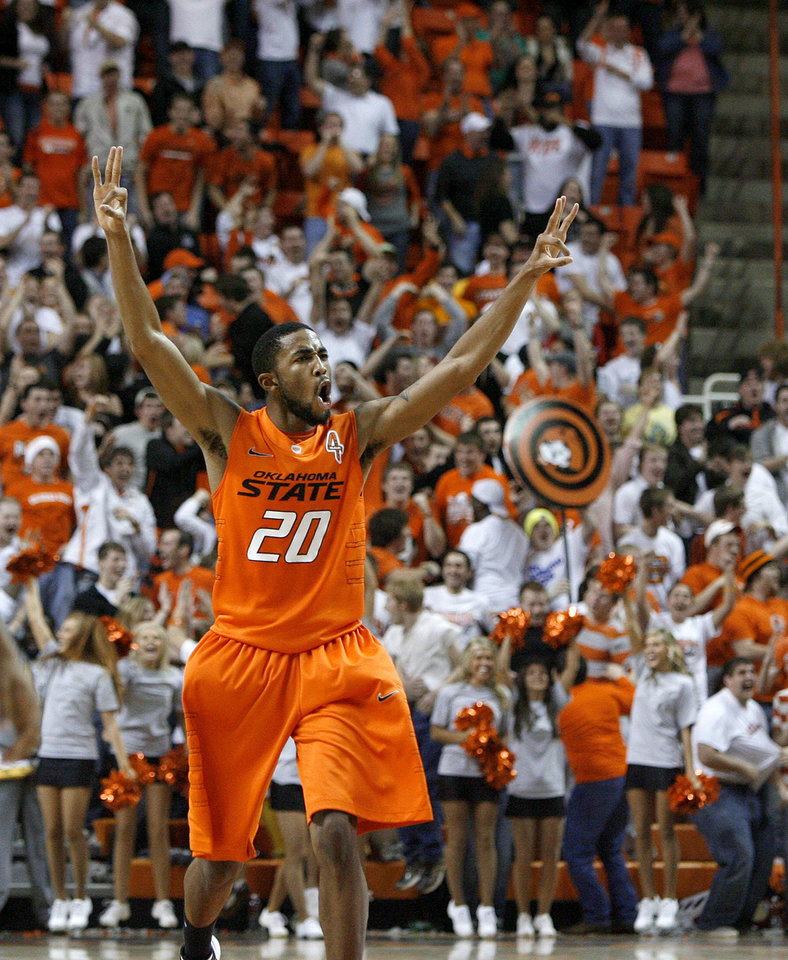 Oklahoma State\'s Michael Cobbins (20) celebrates during an NCAA college basketball game between the Oklahoma State University Cowboys (OSU) and the Missouri Tigers (MU) at Gallagher-Iba Arena in Stillwater, Okla., Wednesday, Jan. 25, 2012. Oklahoma State won 79-72. Photo by Bryan Terry, The Oklahoman