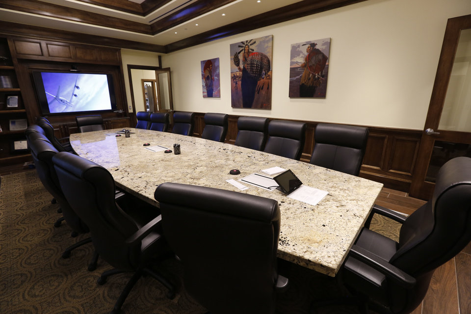 Photo -  Boardroom of the new Delaware Resource Group headquarters building at 3220 Quail Springs Parkway. [PHOTO BY PAUL HELLSTERN, THE OKLAHOMAN]