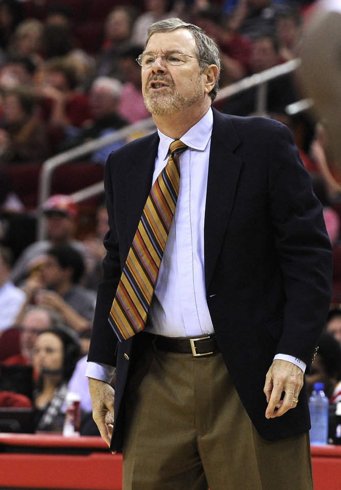 Brooklyn Nets interim coach P.J. Carlesimo yells at his players in the first half of an NBA basketball game against the Houston Rockets on Saturday, Jan. 26, 2013, in Houston. (AP Photo/Pat Sullivan)