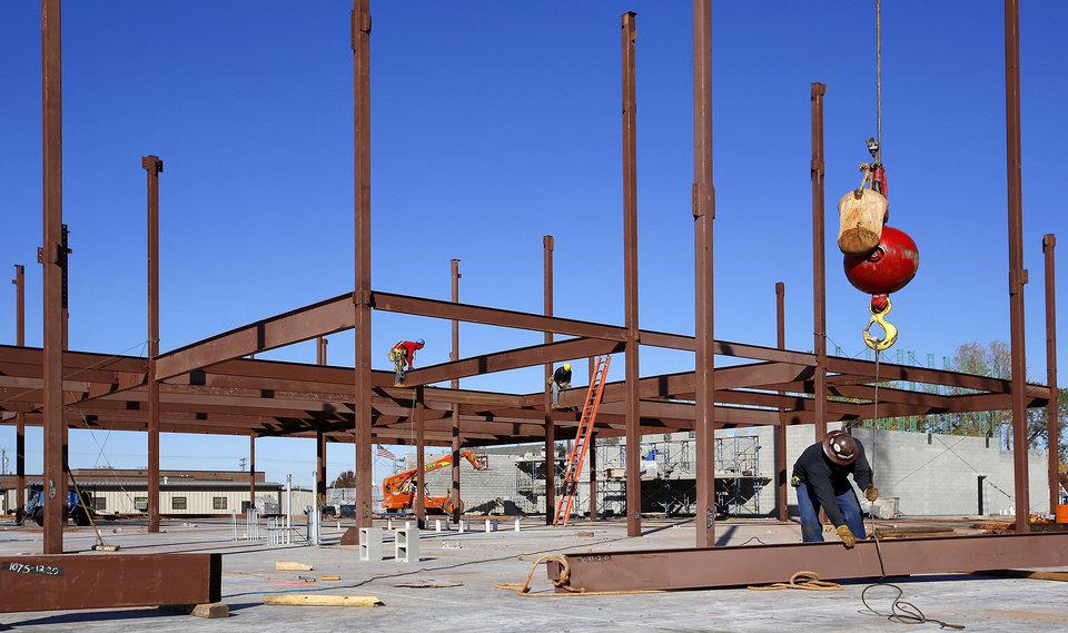 Work continues at Soldier Creek Elementary, one of four elementary schools in the Midwest City-Del City Public Schools system   undergoing major expansion or renovation. Photo by Jim Beckel, The Oklahoman <strong>Jim Beckel - THE OKLAHOMAN</strong>
