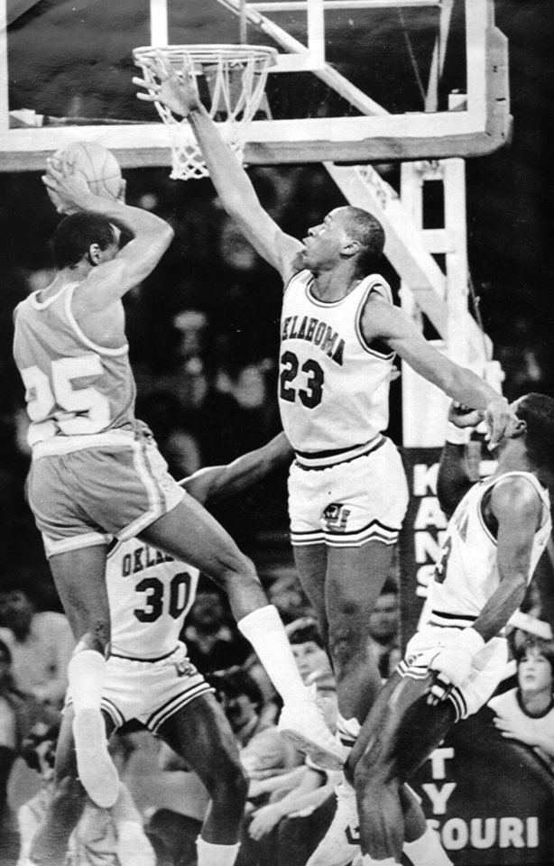 Former OU basketball player Wayman Tisdale. OU's Wayman Tisdale goes for the block on Vince Kelley of Colorado. 3-10-84 ORG XMIT: KOD