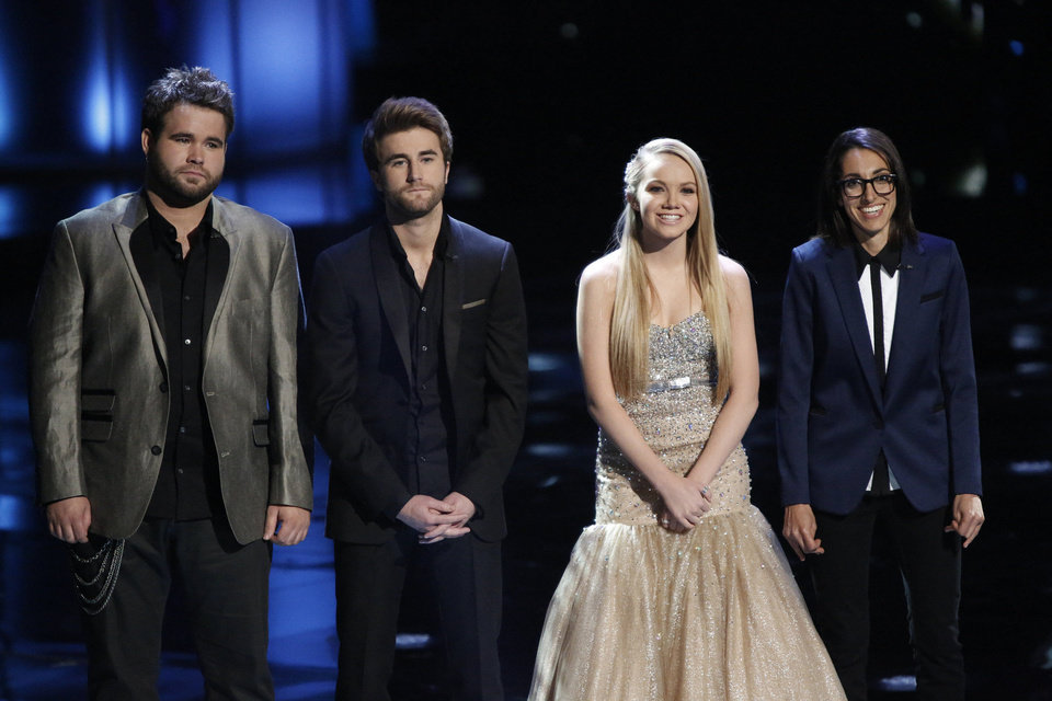 Photo - In this image provided by NBC  from left Zach Swon, Colton Swon of The Swon Brothers, Danielle Bradbery, Michelle Chamuel pose during season-four of