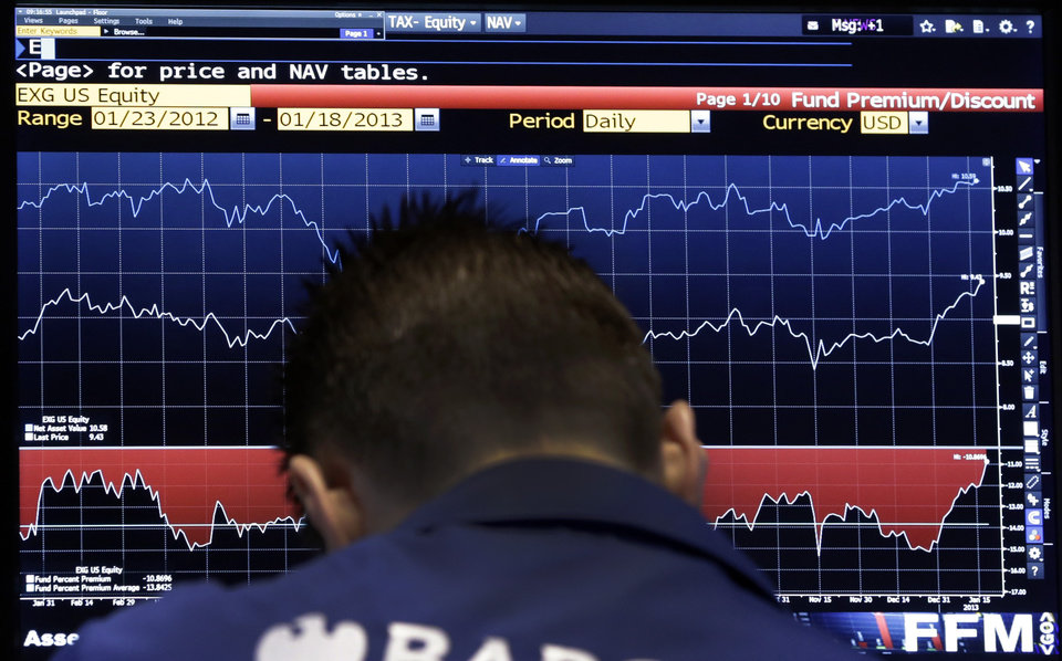 Photo - A specialist checks a screen as his post on the floor of the New York Stock Exchange Tuesday, Jan. 22, 2013. World stock markets fell Wednesday Jan. 23, 2013 ahead of a U.S. vote on raising the nation's borrowing limit.  (AP Photo/Richard Drew)