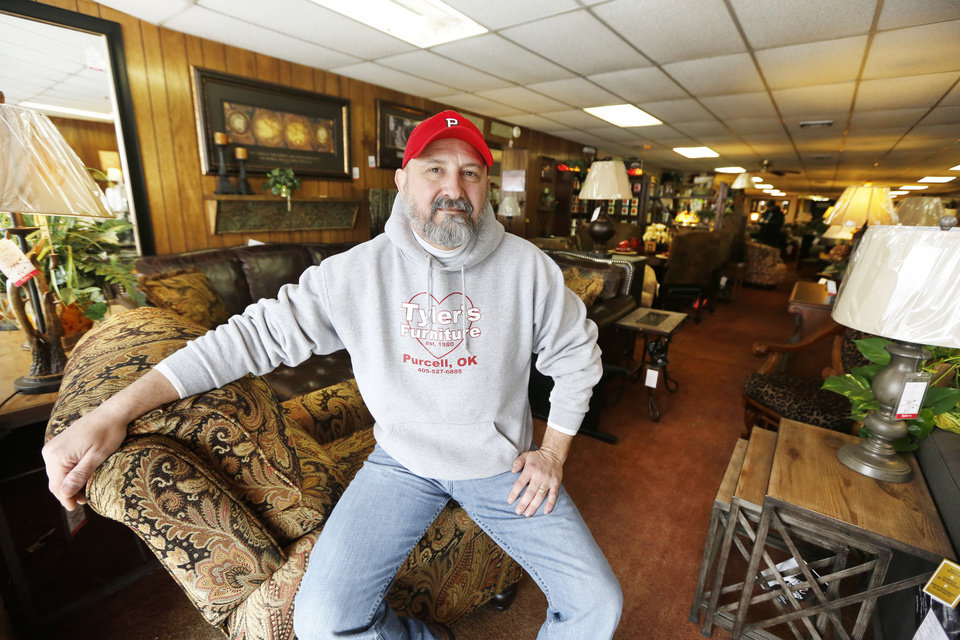 Mike Phillips, owner of Tyler's Furniture, in Purcell, says his deliveries to Lexington, have now turned into a 94 mile trip since the State Department of Transportation closed The James C. Nance Memorial Bridge, U.S. 77/State Highway 39, that links Purcell and Lexington, Monday February 03, 2014.The bridge was closed last week after an inspection revealed cracking in the beams. Photo By Steve Gooch, The Oklahoman