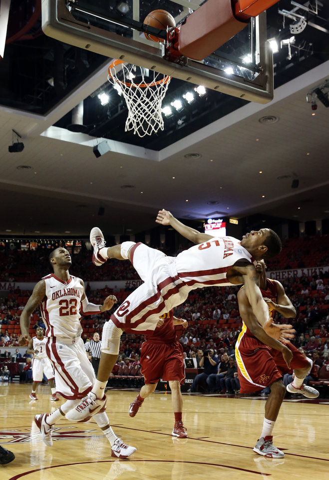 Photo - Oklahoma's Je'lon Hornbeak (5) goes to the deck after a shot as the University of Oklahoma Sooners (OU) men play the Iowa State Cyclones in NCAA, college basketball at Lloyd Noble Center on Saturday, March 2, 2013  in Norman, Okla. Photo by Steve Sisney, The Oklahoman