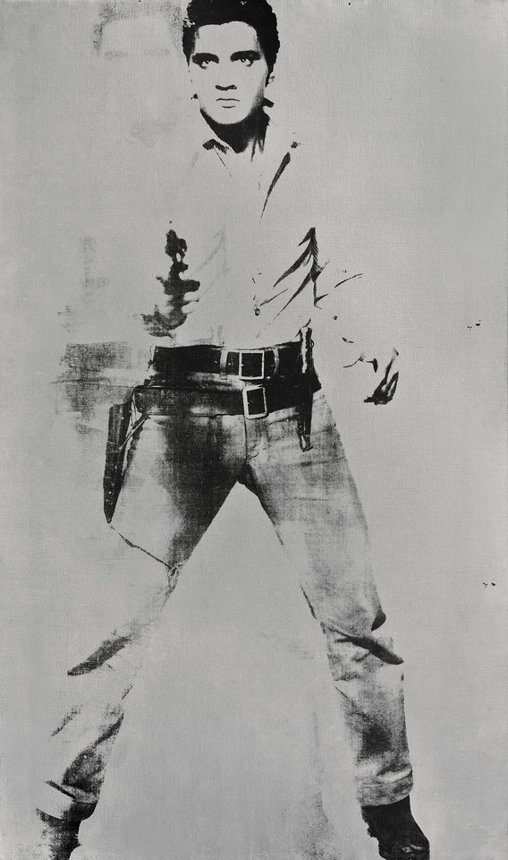 "Photo -   FILE - This undated image provided by Sotheby's shows Andy Warhol's portrait of Elvis Presley depicted as a cowboy. The painting, with a silver background, ""Double Elvis [Ferus Type]"" is estimated to sell for between $30 million to $50 million at Sotheby's in New York on Wednesday May 9, 2012. (AP Photo/Sotheby's, File)"