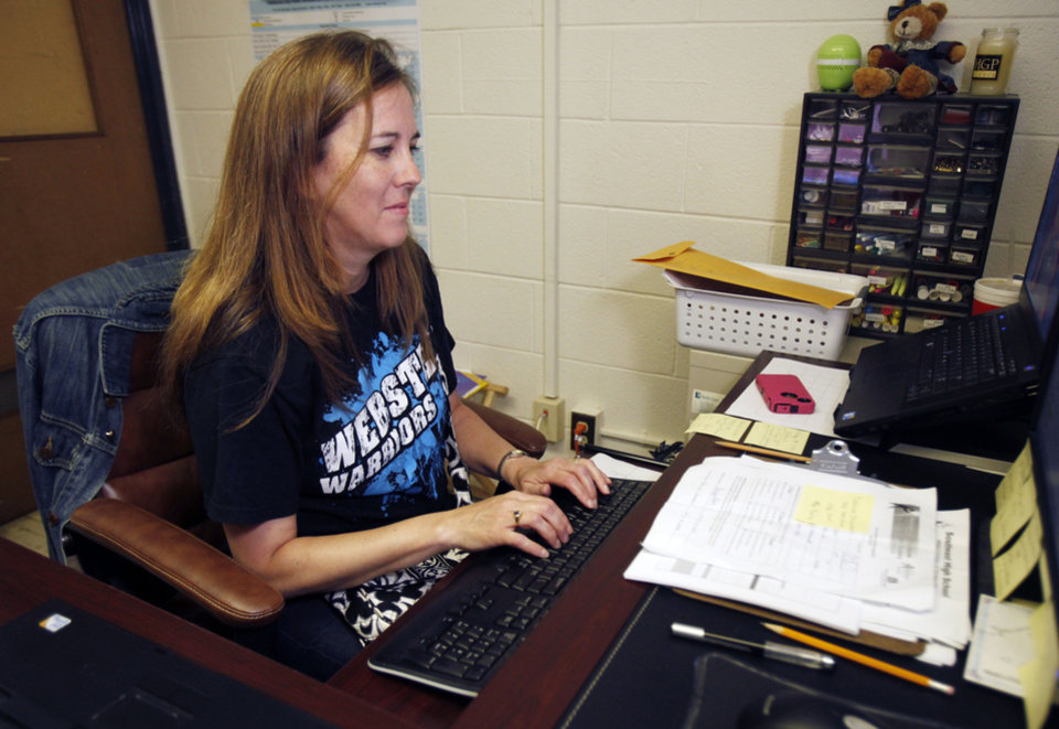 A counselor works in her office at Webster Middle School in Oklahoma City, OK, Friday, May 4, 2012. This is for a story about the life of a middle school.  By Paul Hellstern, The Oklahoman