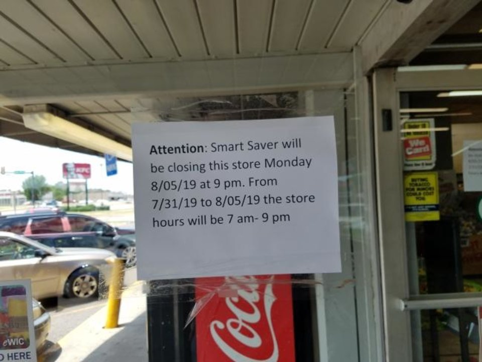 Photo -  Owners of the Smart Saver grocery store at NE 23 and Martin Luther King Avenue announced this week the store will close on Monday. A note announced the closing on the store's front door. [Steve Lackmeyer/The Oklahoman]