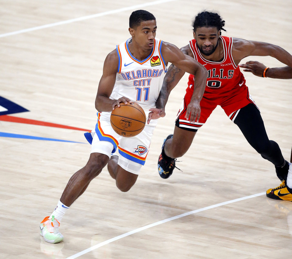 Photo - Oklahoma City's ThŽo Maledon drives to the basket as Chicago's Patrick Williams (9) defends during the NBA preseason game between the Oklahoma City Thunder and the Chicago Bulls at the Chesapeake Energy Arena in Oklahoma City,  Wednesday, Dec. 16, 2020. [Sarah Phipps/The Oklahoman]
