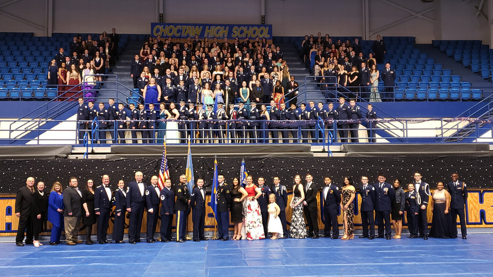 Photo - Group photo at the AFJROTC Military Ball. PHOTO PROVIDED