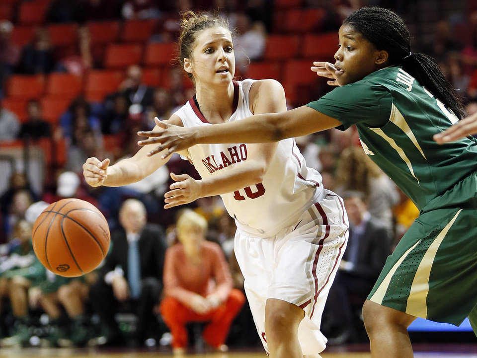 Oklahoma's Morgan Hook (10) passes around Baylor's Niya Johnson (2) during a women's college basketball game between the University of Oklahoma and Baylor at the Lloyd Noble Center in Norman, Okla., Monday, Feb. 25, 2013. Baylor beat OU, 86-64. Photo by Nate Billings, The Oklahoman