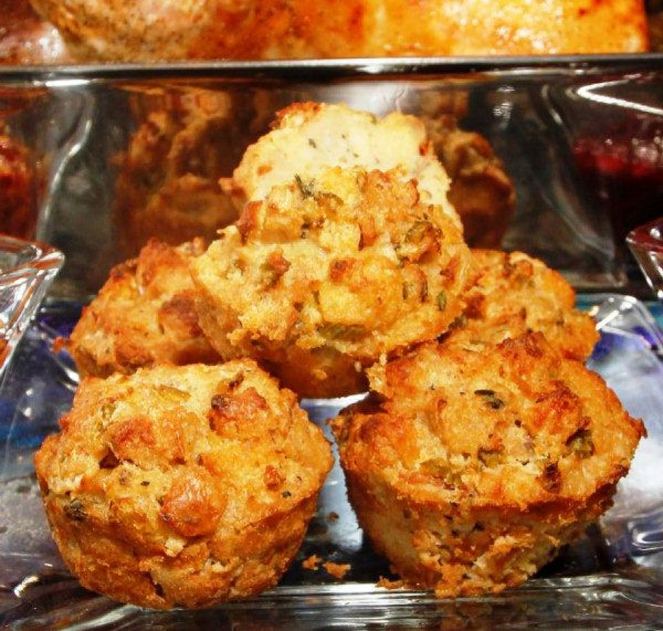 Photo - Chef Luke Fry's Stuffin' Muffins combine the holy Thanksgiving trinity -- turkey, dressing and gravy -- in a single baked good.  STEVE GOOCH - THE OKLAHOMAN