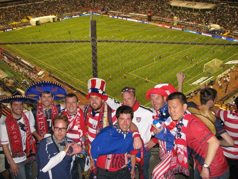 Photo -  Noah Hutchens, second row third from left, never played soccer as a kid, but after seeing the U.S. men play in 2007, he was hooked. He joined the American Outlaws and was one of the original members of the Oklahoma City chapter. Last year, he traveled with several other members to Mexico City to see the U.S. men play a World Cup qualifier at the revered Azteca Stadium.