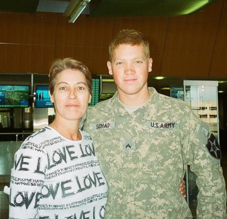 Rex Schad, 26, of Edmond, is shown in this 2010 photo with his mother, Colleen Whipple. Schad, an Army staff sergeant, was killed Monday, March 11, 2013, in Afghanistan. Photo provided <strong>PROVIDED</strong>