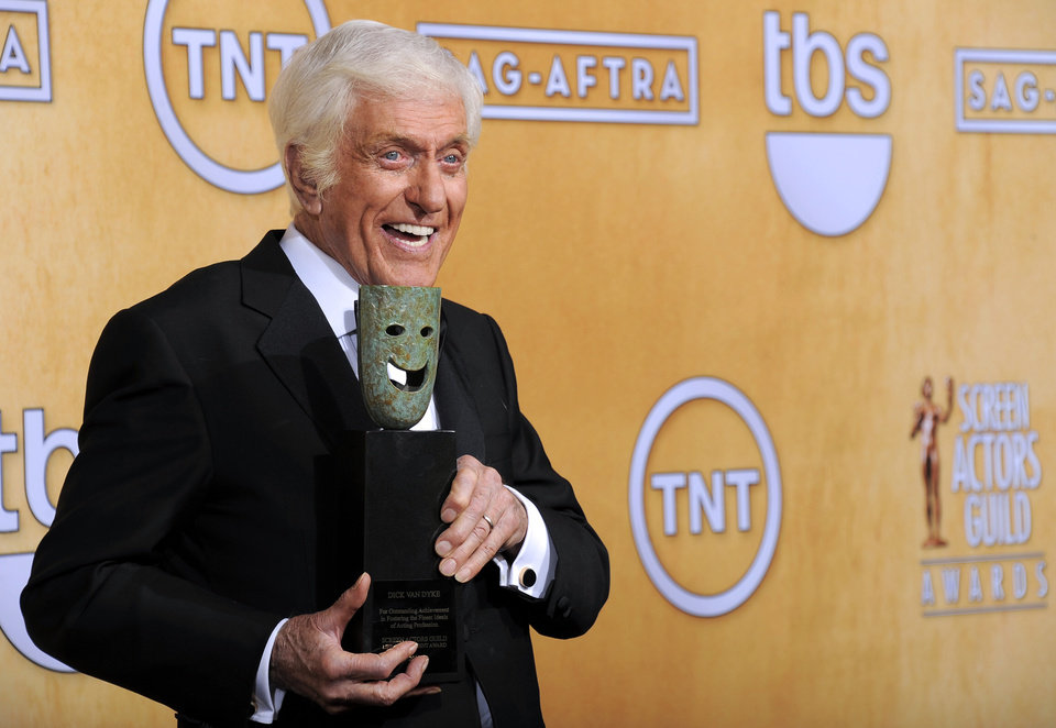 Actor Dick Van Dyke poses backstage with his life achievement award at the 19th Annual Screen Actors Guild Awards at the Shrine Auditorium in Los Angeles on Sunday, Jan. 27, 2013. (Photo by Chris Pizzello/Invision/AP)