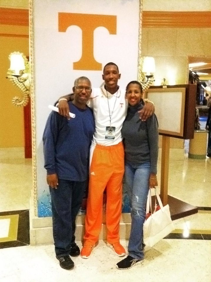 Photo - Tennessee basketball player Josh Richardson and his mom and dad (Alice and Michael).