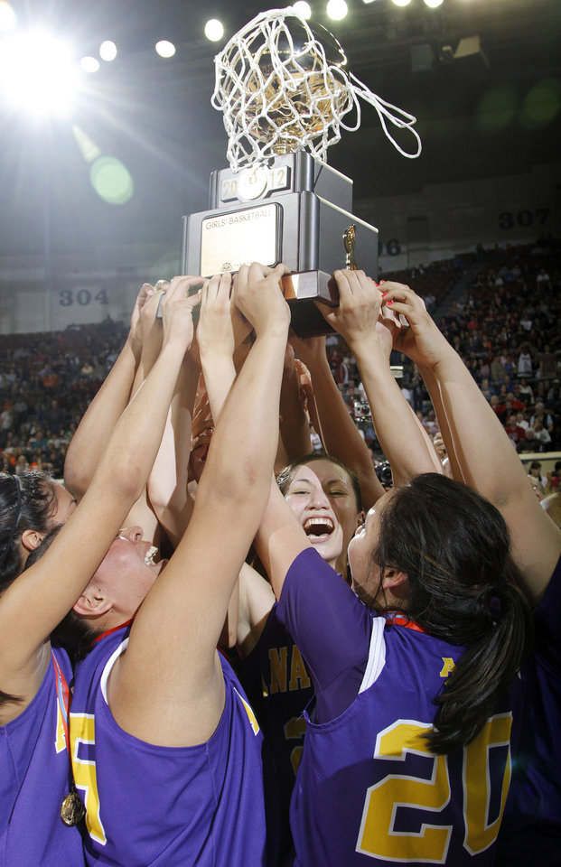 FORT GIBSON / CLASS 4A GIRLS HIGH SCHOOL BASKETBALL / STATE TOURNAMENT: Anadarko's Lakota Beatty (23) helps hoist the championship trophy during the 4A girls State Basketball Championship game between Ft. Gibson High School and Anadarko High School at State Fair Arena on Saturday, March 10, 2012 in Oklahoma City, Okla.  Photo by Chris Landsberger, The Oklahoman