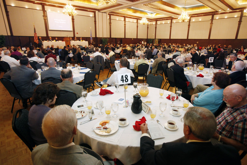 Photo - Hundreds attend the Mayor's Prayer Breakfast in the ballroom of the Nigh Center at the University of Central Oklahoma in Edmond on Tuesday. Photo by Paul Hellstern, The Oklahoman  PAUL HELLSTERN - Oklahoman
