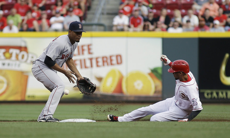 Photo - Cincinnati Reds' Billy Hamilton, right, steals second base and advanced to third as the ball gets away from Boston Red Sox shortstop Xander Bogaerts in the first inning of a baseball game, Tuesday, Aug. 12, 2014, in Cincinnati. (AP Photo/Tony Tribble)