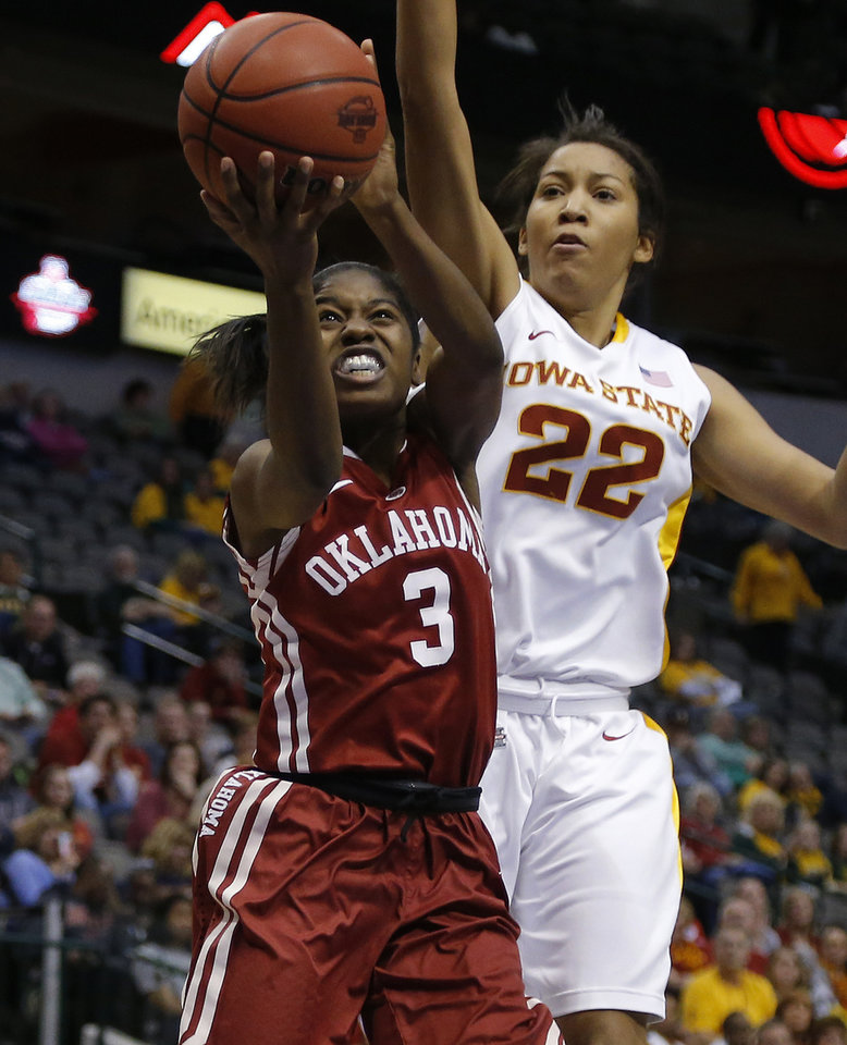Oklahoma's Aaryn Ellenberg (3) goes past Iowa State's Brynn Williamson (22) during the Big 12 tournament women's college basketball game between the University of Oklahoma and Iowa State University at American Airlines Arena in Dallas, Sunday, March 10, 2012.  Oklahoma lost 79-60. Photo by Bryan Terry, The Oklahoman