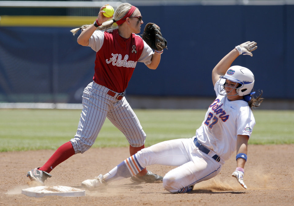 Photo - Alabama's Whitney Larsen (20) tries to turn a double as Florida's Cheyenne Coyle (27) slides into second during the Women's College World Series game between Florida and Alabama at the ASA Hall of Fame Stadium in Oklahoma City, Sunday, June 5, 2011. Photo by Sarah Phipps, The Oklahoman