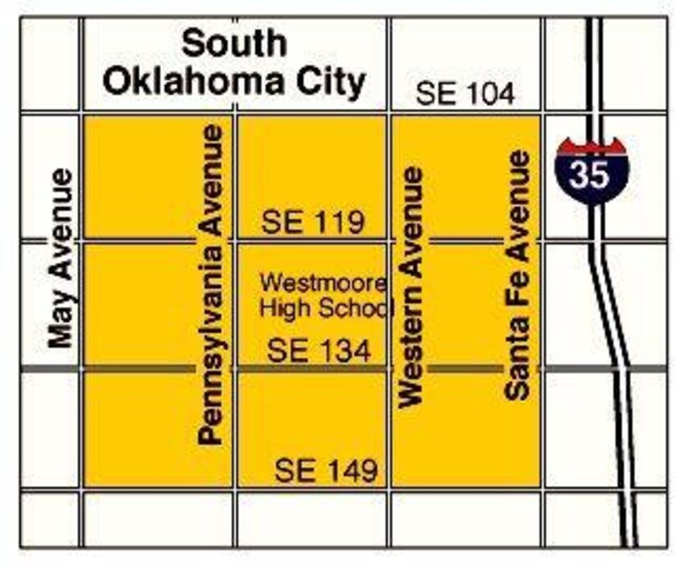 Tornado aftermath: South Oklahoma City map with location of Westmoore High School