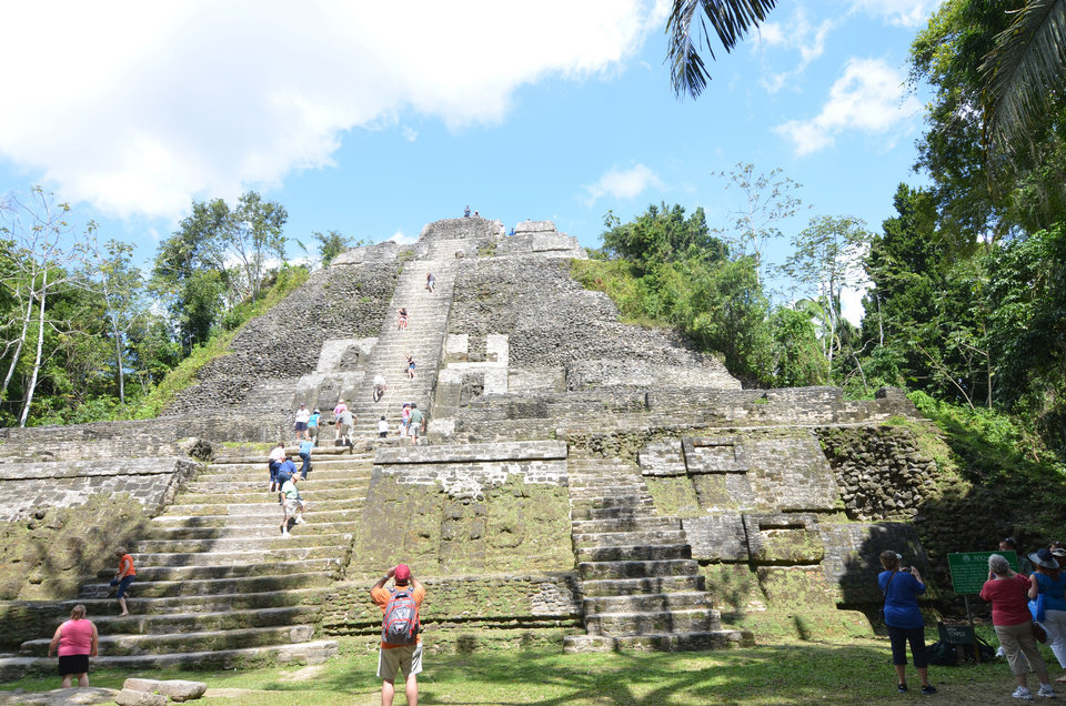 Photo - At about 11 stories tall, the High Temple is the tallest structure at Lamanai and one of the largest in the Maya area.   Photo by Wesley K.H. Teo.