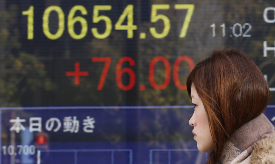 Photo - A woman walks by an electronic stock board of a securities firm in Tokyo, Thursday, Jan. 10, 2013. A positive start to U.S. corporate earnings season helped boost Asian stock markets Thursday. (AP Photo/Koji Sasahara)