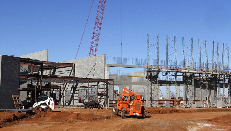 Construction of the $22.5 million Edmond Recreation and Aquatic Center is 40 percent complete. PHOTO BY PAUL HELLSTERN, THE OKLAHOMAN