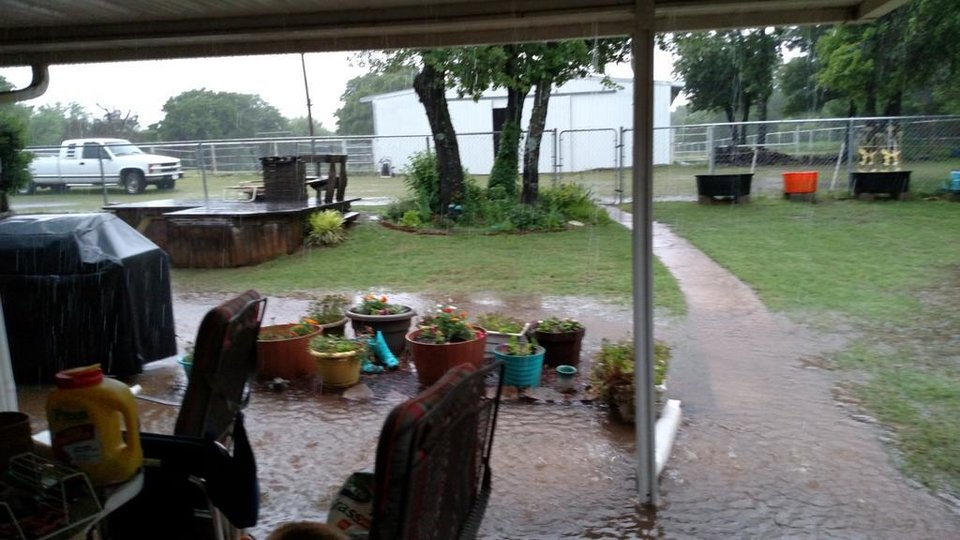 Photo - Flooding in Edmond backyard -- Photo via Terri Folks @FolksTerri on Twitter