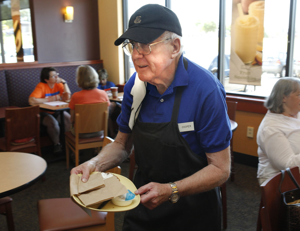 Cooper Parker, 74, works as a dining room attendant at Panera Bread in Nichols Hills, OK, Friday, July 20, 2012,  By Paul Hellstern.  The Oklahoman