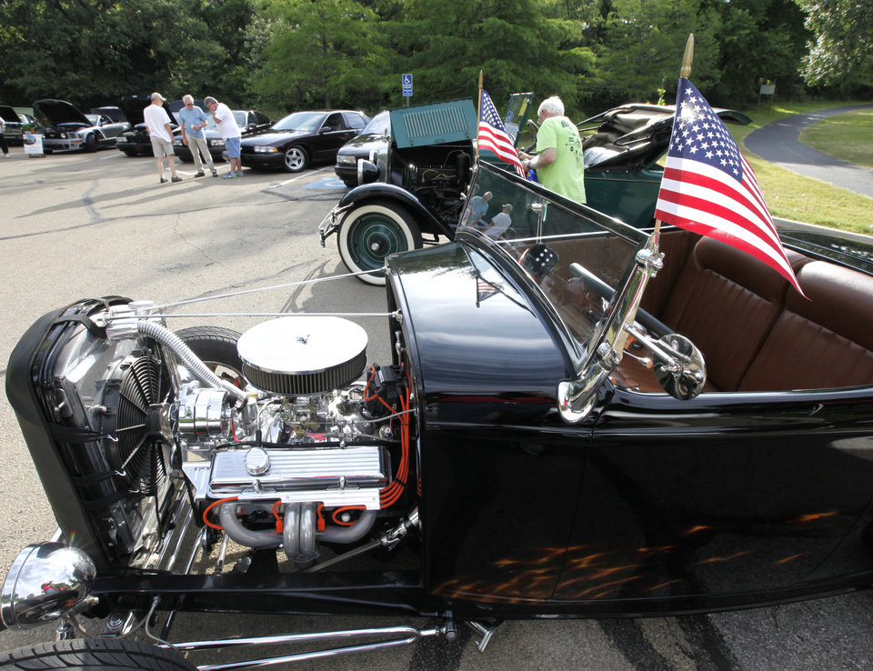 A hotrod displays the US flag during the 11th annual car show, part of the LibertyFest celebration at Hafer Park in Edmond, OK, Saturday, June 29, 2013,  Photo by Paul Hellstern, The Oklahoman