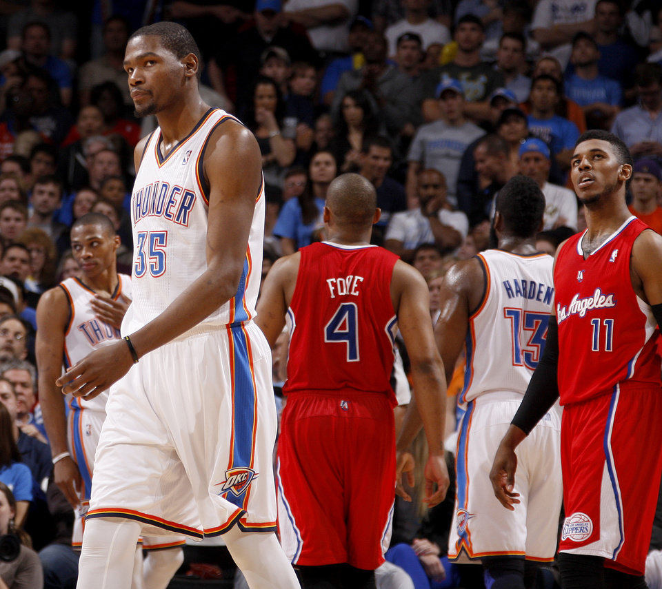 Oklahoma City\'s Kevin Durant (35) reacts during the final minutes of an NBA basketball game between the Oklahoma City Thunder and the Los Angeles Clippers at Chesapeake Energy Arena in Oklahoma City, Wednesday, April 11, 2012. Oklahoma City lost 100-98. Photo by Bryan Terry, The Oklahoman