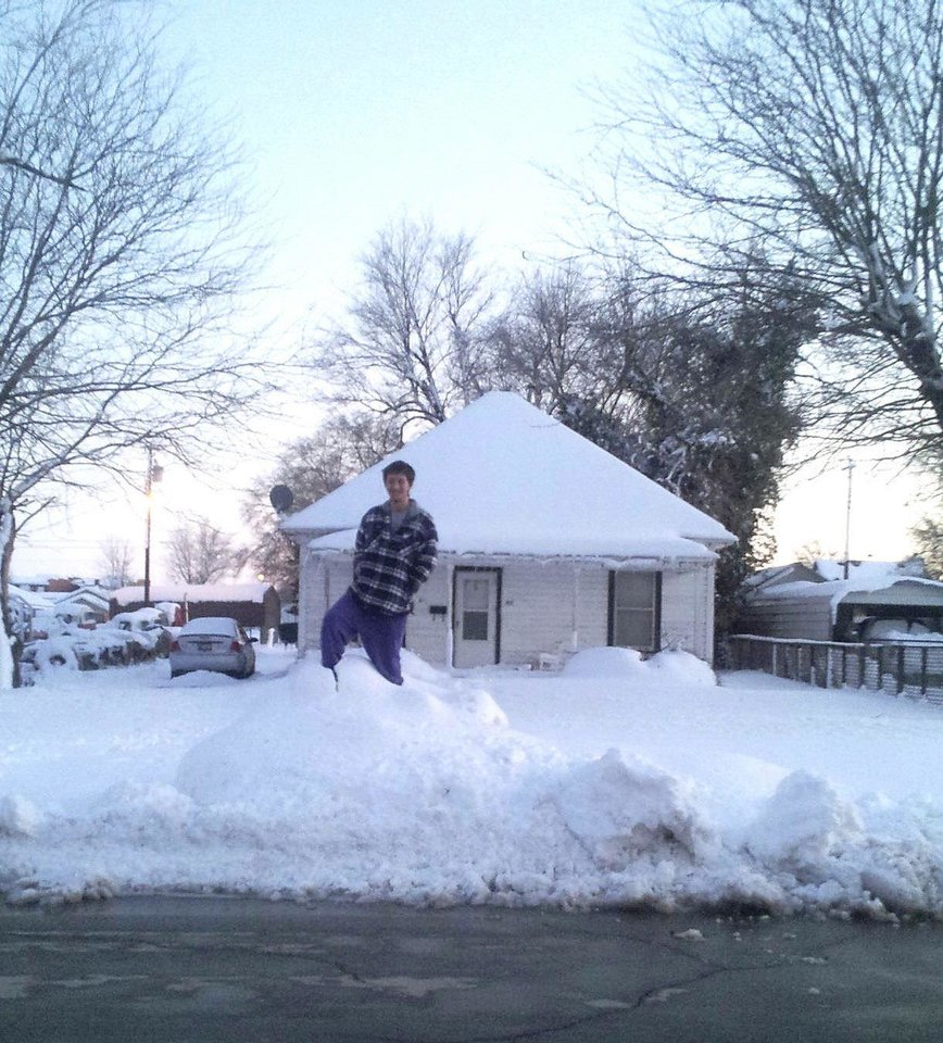 Photo - Becky Burke and her fiance were stuck in their home in Alva, which received 15 inches of snow Monday evening when a blizzard blew through the northwest part of the state. Photo provided by Becky Burke