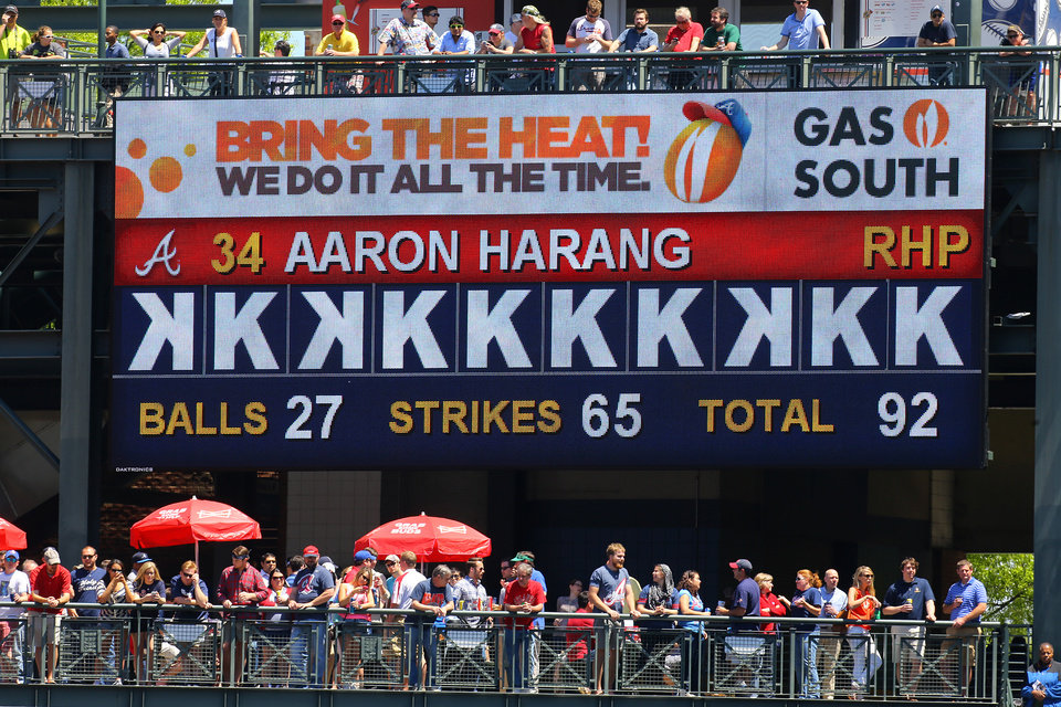 Photo - The Bring The Heat scoreboard shows the strikeouts of Atlanta Braves pitcher Aaron Harang during the sixth inning of a  baseball game against the Miami Marlins on Wednesday, April 23, 2014, in Atlanta. (AP Photo/Atlanta Journal Constitution, Curtis Compton) MARIETTA DAILY OUT, GWINNETT DAILY POST OUT) LOCAL TV OUT (WXIA, WGCL, FOX 5)