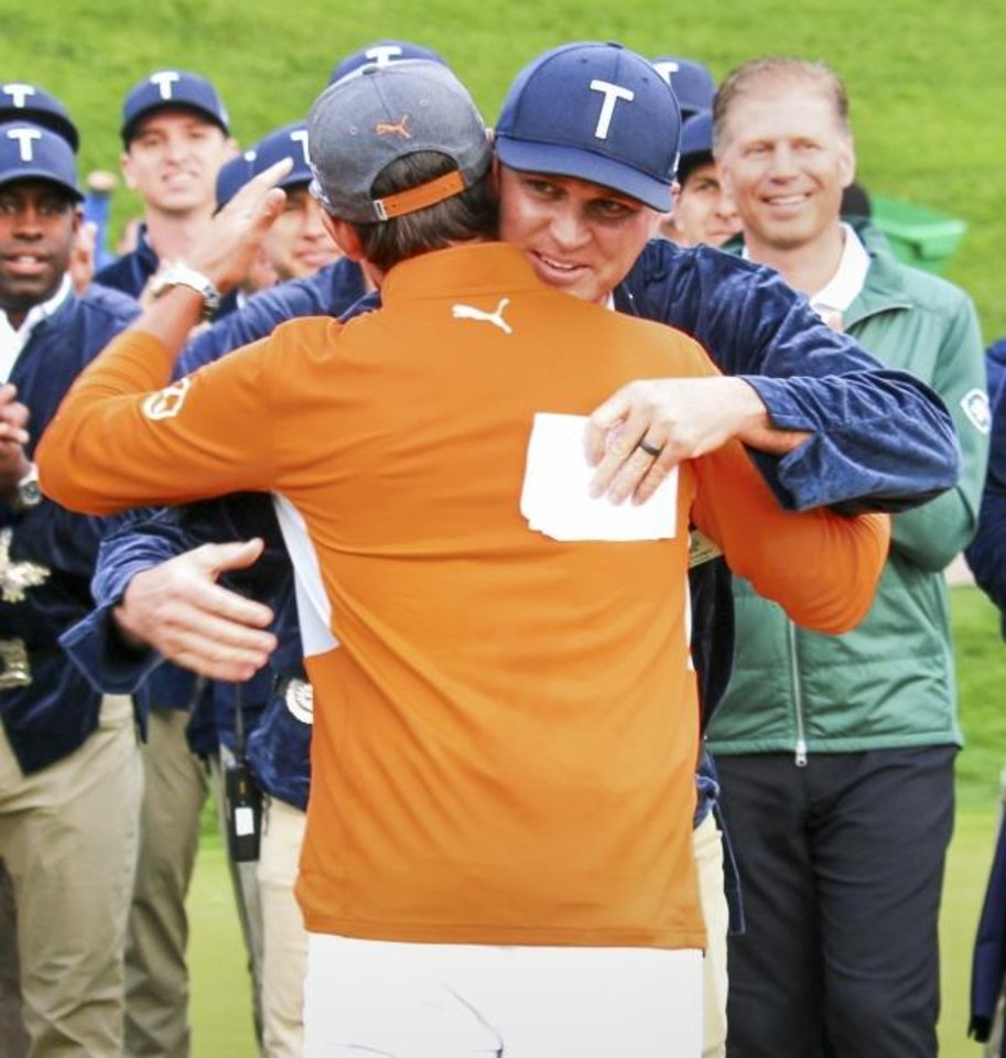 Photo -  Oklahoma native Chance Cozby embraced Rickie Fowler, who won the Waste Management Phoenix Open on Sunday. Cozby, an Oklahoma native and Oklahoma alum, was tournament chairman this year. [PHOTO COURTESY OF THE WASTE MANAGEMENT PHOENIX OPEN]