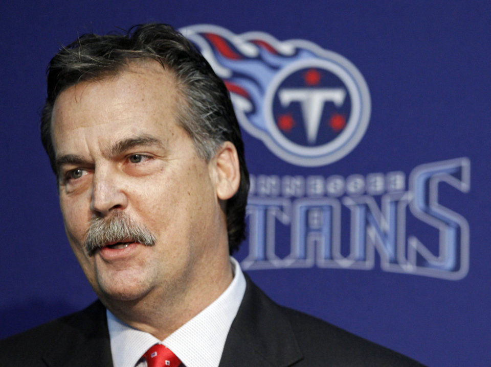 Photo -   Former Tennessee Titans head coach Jeff Fisher answers questions from the media during an NFL football news conference at the team's headquarters on Friday, Jan. 28, 2011, in Nashville, Tenn. The Titans announced on Thursday that Fisher will not remain as head coach. (AP Photo/Mark Humphrey)