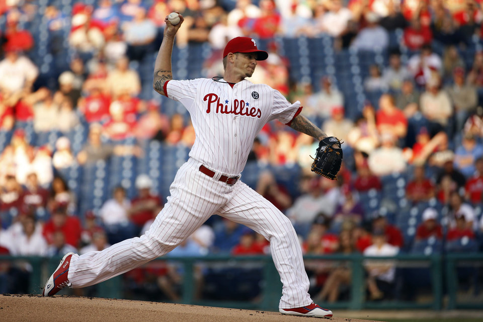 Photo - Philadelphia Phillies' A.J. Burnett pitches during the first inning of a baseball game against the New York Mets, Friday, May 30, 2014, in Philadelphia. (AP Photo/Matt Slocum)