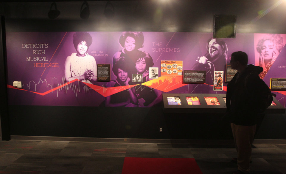 Detroit's musical heritage is displayed at the Detroit Historical Museum in Detroit, Wednesday, Nov. 21, 2012. The museum is reopening six months after the venerable institution in the city's cultural center closed up shop to undergo its first major renovation in a half-century. (AP Photo/Carlos Osorio)