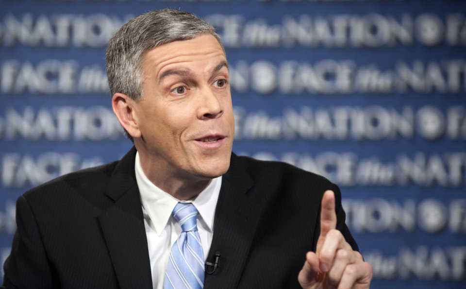 "In this Sunday, Feb. 24, 2013, photo provided by CBS News, Secretary of Education Arne Duncan speaks on CBS's "" Face the Nation"" in Washington. Duncan spoke about the instability created by across-the-board, sequestration, cuts and their impact on education budget (AP Photo/CBS News, Chris Usher)"