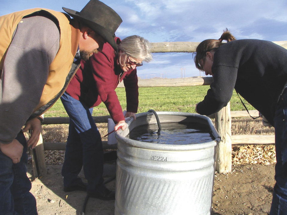 Photo -   ADVANCE FOR FRIDAY AMS MAY 4 - FILE - In a Nov. 8, 2007 file photo, John Fenton and others examine neighbor Louis Meeks' water in Pavillion, Wyo., where federal officials indicated people shouldn't drink water from 40 wells in and around this central Wyoming farming and ranching community. The U.S. Environmental Protection Agency drew skepticism and mistrust from Wyoming regulators after it privately briefed them more than a month in advance about its first-ever public announcement that hydraulic fracturing, a controversial but favored method for releasing difficult pockets of oil and gas, might have caused groundwater pollution. (AP Photo/Casper Star-Tribune, Dustin Bleizeffer, File)
