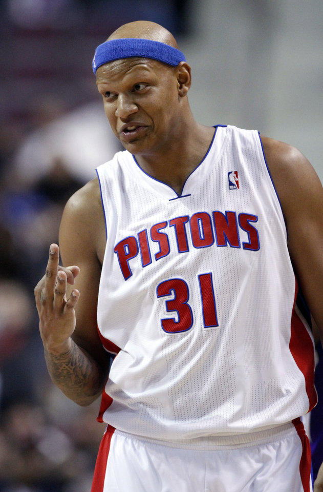 Detroit Pistons forward Charlie Villanueva (31) motions to the Sacramento Kings bench after hitting one of his three 3-point shots in the first half of an NBA basketball game on Tuesday, Jan. 1, 2013, in Auburn Hills, Mich. (AP Photo/Duane Burleson)