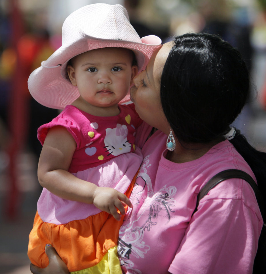 Photo - Patrice Tucker kisses her niece Jillian Tucker, 1, during the Festival of the Arts in downtown Oklahoma City, Wednesday, April 25, 2012. Photo by Nate Billings, The Oklahoman