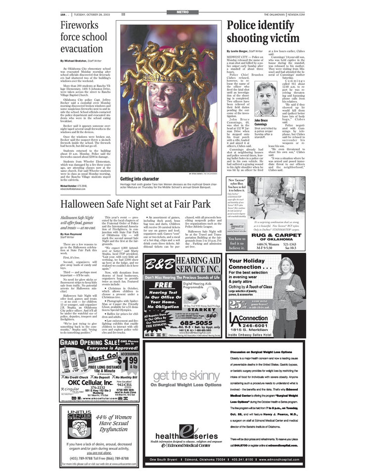 Photo -  The Oct. 28, 2003, edition of The Oklahoman featured a story about the standoff and shooting involving Midwest City police Lt. Roger Ross on Page 18A. [Oklahoman Archives Photos]